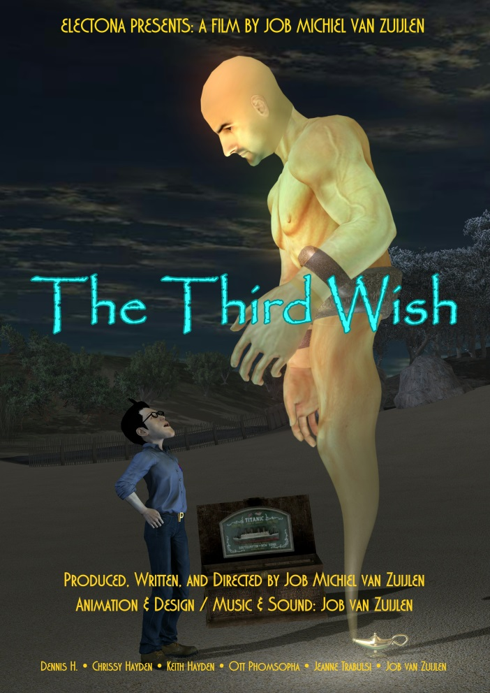 The Third Wish poster with Pinhead and Eugene on the beach.